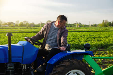 A farmer drives a tractor while harvesting potatoes. First potato harvest in early spring. Agro industry and agribusiness. Harvesting mechanization in developing countries. Farming and farmland. Stock fotó