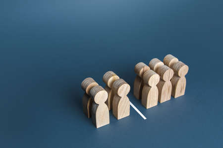 Four out of ten people separated by a line. Visualization of statistical data. 40% of 100%. Polls test results. Equality in numbers. Dividing people into two groups on different issues.