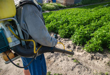 Farmer with a spray machine on potato plantation background. Fungicide and pesticide use for protection of cultivated plants from insects and fungal infections. Crop protection, environmental impact Stock fotó