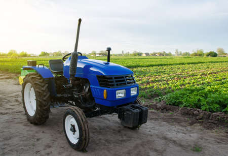 Blue farm tractor stands on field. Application of agricultural machinery in harvesting. Modernization and automation of farm processes. Subsidies and tax refunds for the purchase of new work equipment
