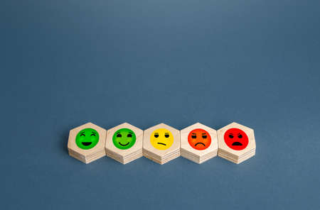 Blocks with mood faces gradations from happy to angry. Concept of rating, review. Visitor satisfaction with the services received. Quality assessment, meeting expectations. Communication and feedback.