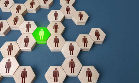 Green man is connecting link of groups of people. A key essential employee. Irreplaceable valuable employee. Specialist and professional. Experience, communication leadership skills. Useful contacts.