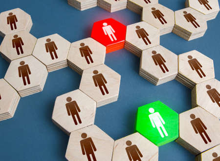 Red and green men are connecting links in a people system network. Ensuring communication between groups of people. Mediation, networking. Duplicate employee. Competition. Alternative connections.