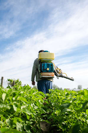 Farmer with a mist sprayer walks through farm field. Protection of cultivated plants from insects and fungal infections. Use of chemicals for crop protection in agriculture. Farming growing vegetables
