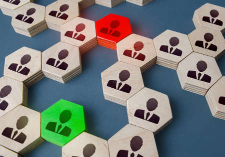 Red and green people in the corporate network. Resolution of issues and conflicts through contact managers. The concept of non-negotiability versus responsiveness. Mediation, networking. Stock fotó