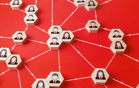 Network of connected people. Communicate interactions between working groups. Company networking communication. Partnerships, business relations development. Decentralized hierarchical system. Stock fotó