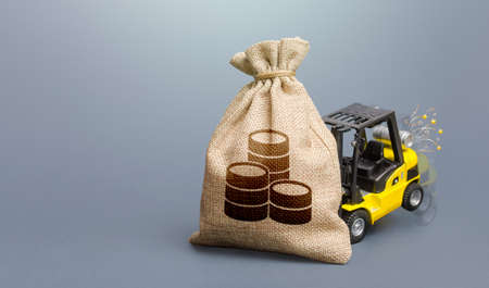 Forklift unable to lift a money bag. Business risk management. High debt load. Inability to pay debts. Debt restructuring. Oversupply financing, overfunding. Budgeting and accounting