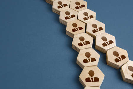 People employees are unite in a single chain. Integration acquisition concept. Consolidation, cooperation, organization. Division into two groups. Staff restructuring. Merge of companys departments.