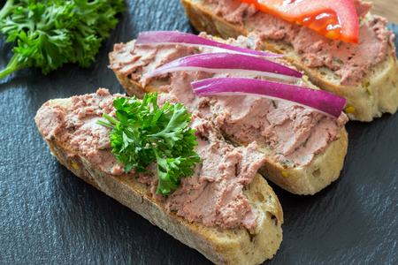 Bread with meat mousse