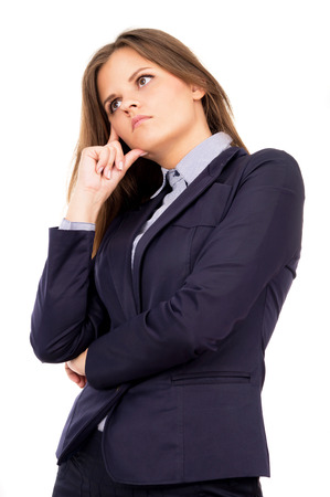 beautiful business girl thinks of work isolated on white background photo