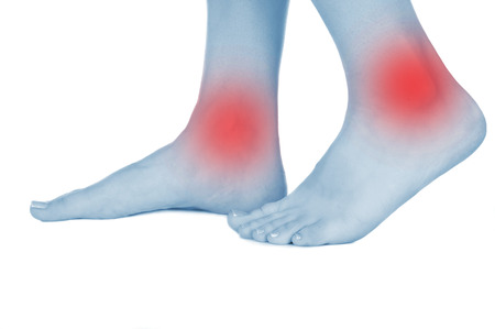 convulsions: feet hurt, shown red, keep handed, isolated on white background Stock Photo