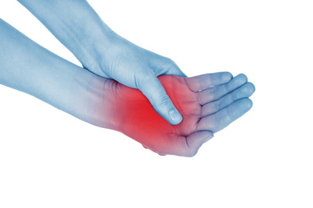 convulsions: sore wrist, hand, shown red, isolated on white background