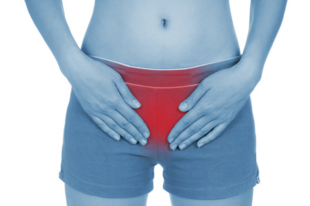 red handed: sore uterus, shown red, keep handed, isolated on white background