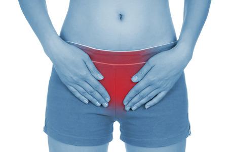 utero: utero dolente, mostrato rosso, tenere mani, isolato su sfondo bianco