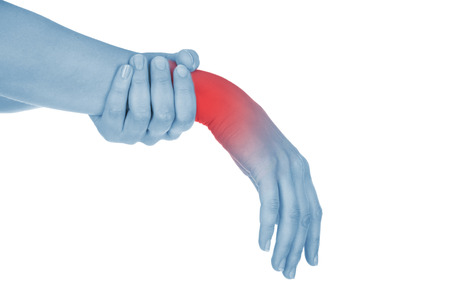 sore wrist, hand, shown red, isolated on white background photo