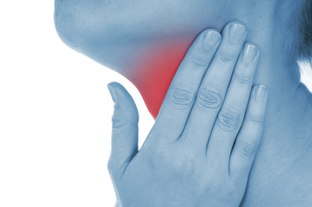 thyroid: sore throat, shown red, keep handed, isolated on white background Stock Photo