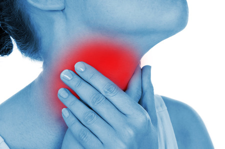 painful: sore throat, shown red, keep handed, isolated on white background Stock Photo