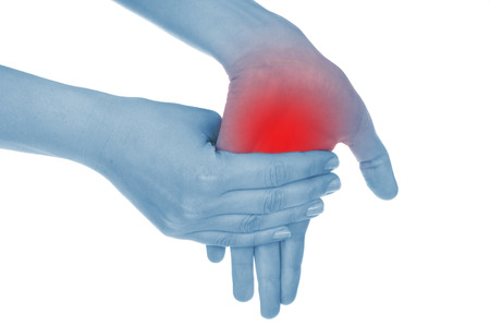 convulsions: sore wrist, hand, shown red, keep handed, isolated on white background Stock Photo