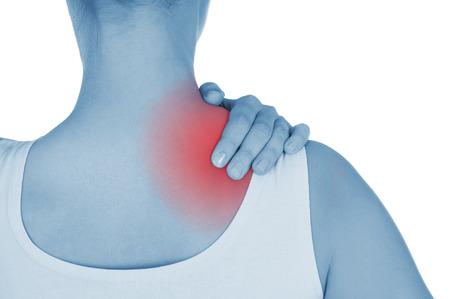 luxacion: dolor de hombro, que se muestra de color rojo, mantenga manos, aislados en fondo blanco Foto de archivo