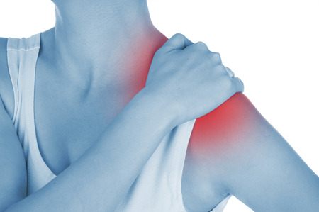 dislocation: sore shoulder, shown red, keep handed, isolated on white background Stock Photo