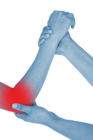 convulsions: sore elbow, hand, shown red, keep handed, isolated on white background