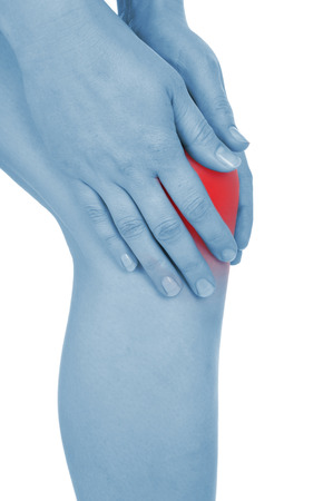 convulsions: sore knee, legs, shown red, keep handed, isolated on white background