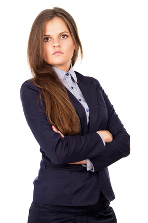serious business girl isolated on white background photo
