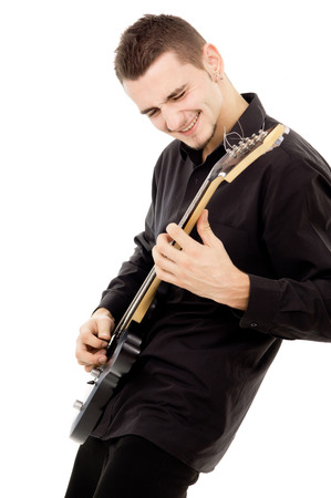young guy is playing the guitar isolated on white background Stok Fotoğraf