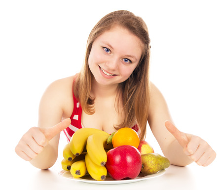 indefinite: girl on a diet, joy fruit, isolated on white background