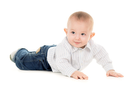 baby crawling: sticking-out ears baby crawling isolated on white background Stock Photo