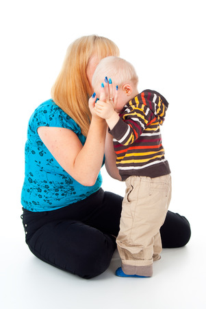 tearful: Mother comforting upset child
