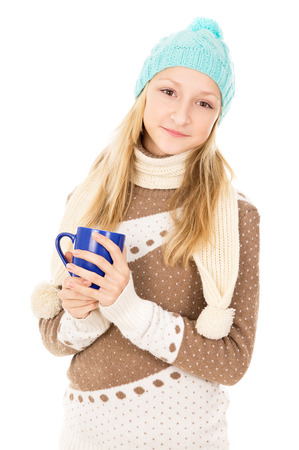 tea cosy: teen girl holding a cup isolated