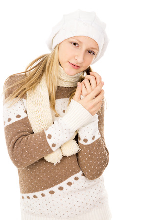 female child: teen girl thought a hat and scarf