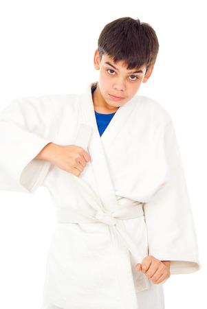 receptions: boy engaged taekwondo and corrects belt