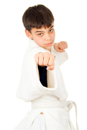 receptions: Taekwondo class boy isolated Stock Photo