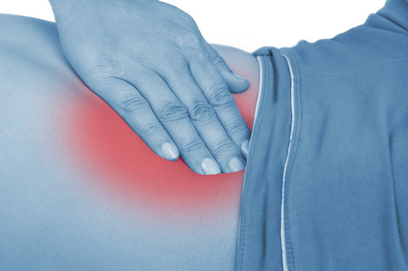 red handed: sore appendicitis, shown red, keep handed, isolated on white background
