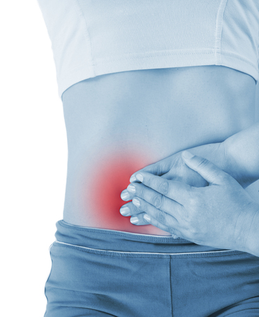 handed: sore appendicitis, shown red, keep handed, isolated on white background
