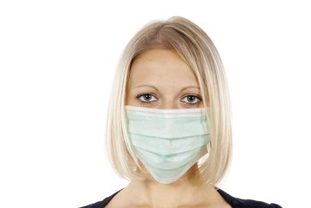 swine flu vaccine: portrait of a girl in a medical mask
