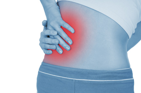 disease patients: severe pain in the kidneys, shown red, keep handed, isolated on white background Stock Photo