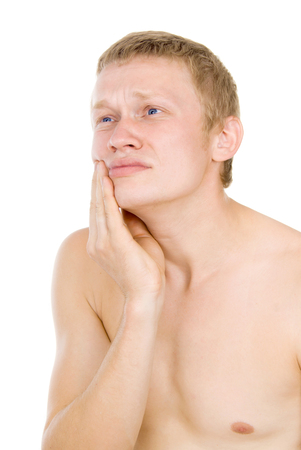 tooth pain: male torso, tooth pain isolated on white background
