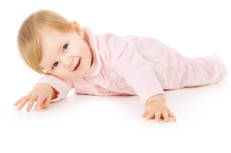 learns: beautiful little baby learns to crawl isolated on white background Stock Photo