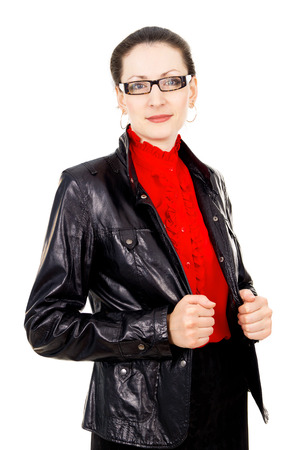 business woman in a leather jacket Stok Fotoğraf
