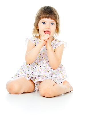 happy little girl sitting Stok Fotoğraf