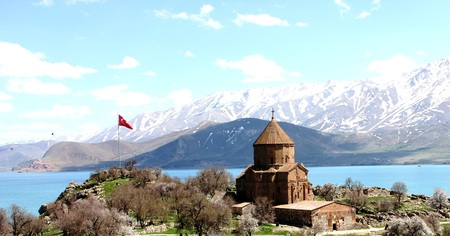 Akdamar island and the Armenian church Stock Photo