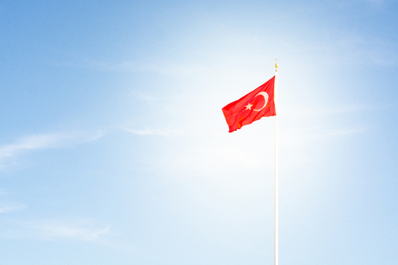 Turkish flag waving in the wind Banque d'images