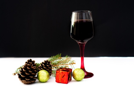Various wine selections, glasses for Christmas holiday party