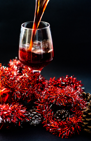 Various wine selections, glasses for Christmas holiday party Stock Photo
