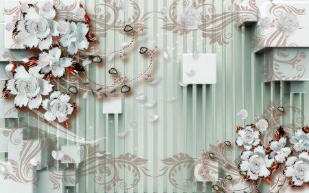 3d wallpaper design wtih flowers on 3d background