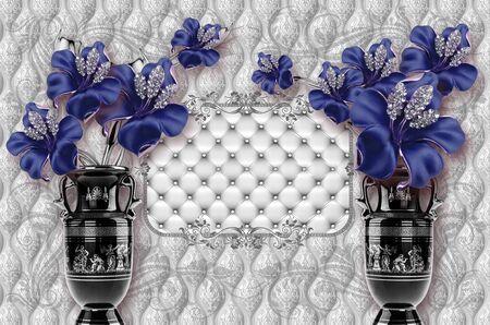 3d wallpaper design wtih ceramic flowers and vase on capitone background Standard-Bild