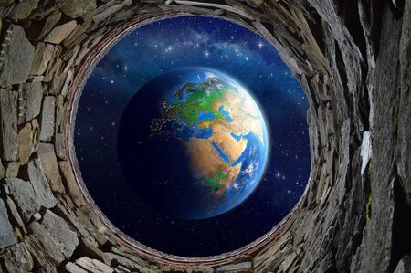 3d wallpaper design with space view of earth for mural